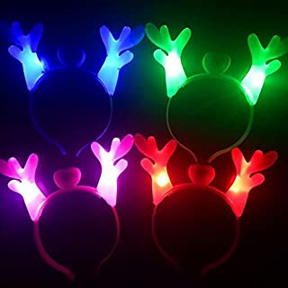 EBTOYS LED Light-up Headbands Antlers Ears Headband Tiara for Christmas Birthday Party Gifts,Assortment,6-Pack