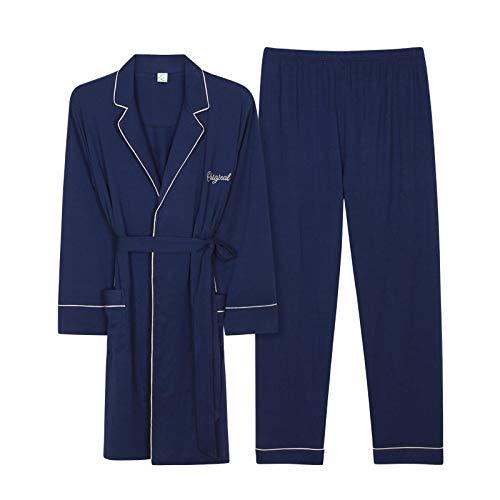DFDLNL Primavera Verano Pareja Conjuntos de Pijamas Bata + Pantalones Algodón Modal Traje de Mujer Ropa de Dormir de Manga Completa Hombres Pijamas Homewear XXL 96260