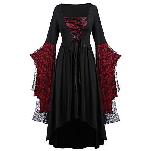 Fossenfeliz Disfraz de Reina Gótico Elegante de Encajes- Vestido de Mujeres Halloween Realista - Falda Larga de Diosa del Temperamento de Fiesta de Mascarada