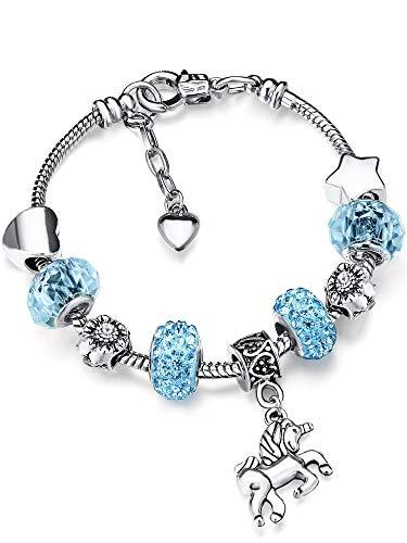 Einhorn Glänzend Krisrall Charm Armband Strass Armreif mit Einhorn Geschenkbox Karten Set für Mädchen Dame (Himmelblau, 14)