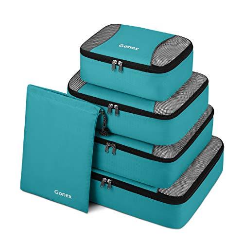 Gonex Packing Cubes 5 Set Travel Luggage Organizer with Shoe Bag (Blue)