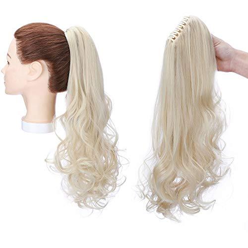Clip in Pferdeschwanz Zopf Extension Haarteil Haarverlängerung Claw on Ponytail Glatt zu Gewellt Hairpiece 45cm Gebleichtes Blond