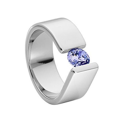 Heideman Ring Damen Maxime aus Edelstahl Silber farbend poliert Damenring für Frauen mit Swarovski Stein Zirkonia lila im Brillant Schliff 6mm