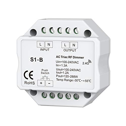 Camisin AC 110 V - 220 V S1-B Dimmer un LED Triac RF Dimmer 2.4GHz 120W-288W Push Dimmer Controller Controller LED