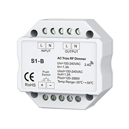 TIZZY AC 110V - 220V S1-B Led Triac RF Dimmer Use 2.4GHz 120W-288W Push Dimmer Controlador de Interruptor LED