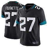 HUUH 27# Fournette Jaguar Rugby T-Shirt pour Hommes Maillot de Football américain, Cadeau Polo athlète Formation Jeu Performance Club aéré Sweat Confortable à Manches Courtes-Black-L