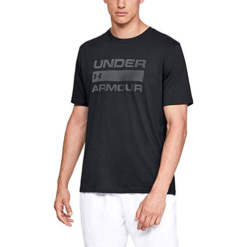 Under Armour Team Issue Camiseta para Hombre con Logotipo, Camiseta Deportiva Transpirable, Camiseta de Manga Corta para Hombre cómoda y Ancha, Black/Rhino Gray (001), MD