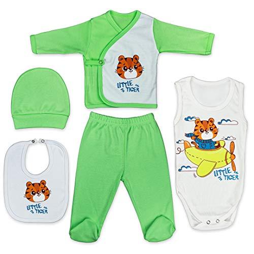 QAR7.3 Conjunto de Ropa Bebe Recien Nacido - 100% Algodón - Set Regalo 5 Piezas: Body, Pijama, Pantalon, Babero, Gorro (Verde, 0-3 meses)