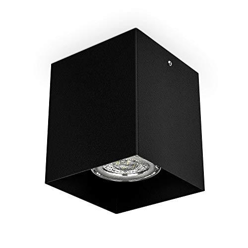 B.K.Licht Faretto da soffitto, attacco per lampadina GU10 non inclusa, Lampada da soffitto quadrata 8x8x9.5cm, metallo colore nero, Plafoniera per cucina, entrata, corridoio, scale 230V IP20