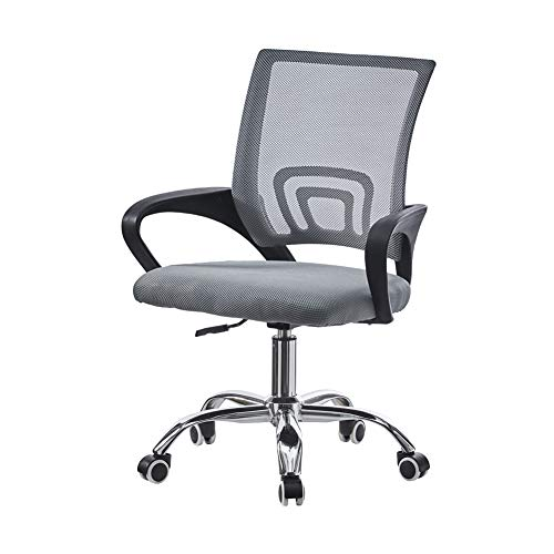 TUKAILAI Mesh Grey Office Chair Executive Desk Chair Adjustable and Swivel Computer Chair Home Office Chair Mid-Back with Lumbar Support Ergonomic Task Chair