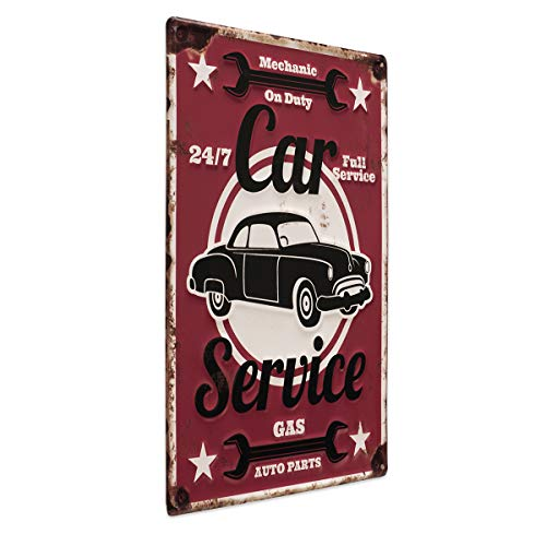 Photolini Targa in Latta Car Service 30x40 cm retrò Targa in Metallo con Scritta Garage Officina