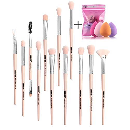 12pcs Eye Cosmetic Brush Avec 4pcs en forme de goutte Puff Puff Doux Maquillage Brush Maquillage Egg Set