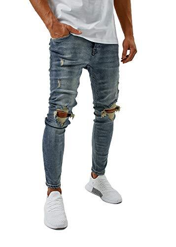 Burocs Herren Destroyed Jeans Slim Fit Skinny Stretch Blau Schwarz...