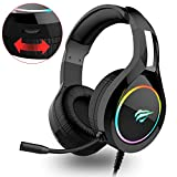 havit Cuffie Gaming per PS4 RGB Cuffie da Gaming con Driver da 50 mm, Suono Surround e Microfono HD, Xbox One Gaming Overear Gaming Headset per PS4/Xbox One/PC/Laptop/Tablet (H2011d)