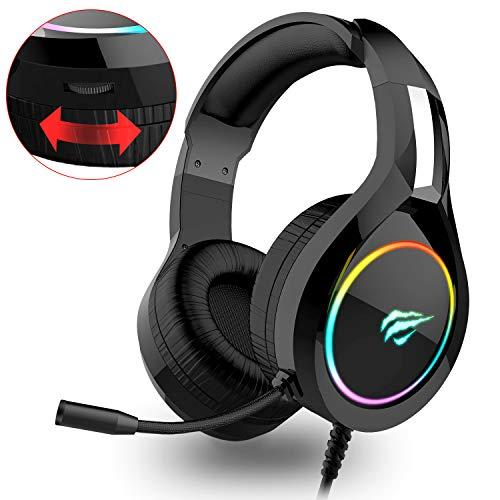 havit Headset für PS4, RGB Gaming Headset für PC, PS5, Xbox One, Laptop, mit Surround Sound 50MM Treiber und Rauschunterdrückung Mikrofon (Schwarz)