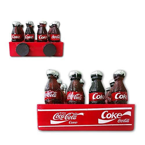 3 Pack Fridge Magnets Kitchen Toy 3D Mini 12 Cola Coke Bottle with Tray Decor Dollhouse Fun Gifts for House Office Personal Use (Red Coke With Tray)