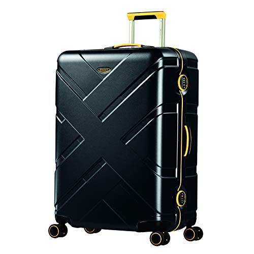 Eminent Gold Maleta Grande Crossover 77cm 103L Maleta Viaje rígida Policarbonato & Marco de Aluminio 4 Ruedas Dobles 360° Doble Cierre TSA Negro/Amarillo