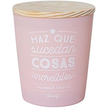 Mr. Wonderful Vela Haz Que sucedan Cosas increíbles, Cera, Rosa, 10.4x10.4x13 cm: Amazon.es: Hogar