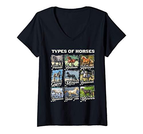 Mujer Camiseta de caballo Tipos de razas de caballos Cabalgata Camiseta Cuello V