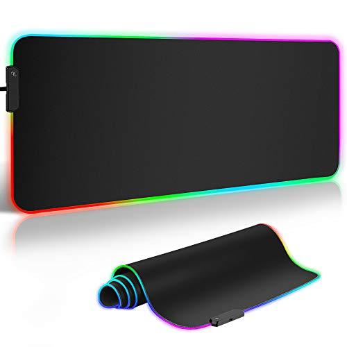 ARCHEER Tappetino Mouse Gaming, RGB Gaming Tappetino 900x400 mm Tappetino Mouse Gaming XXL con 12 RGB Effetti Luce Superficie Impermeabile Liscio e Base Gomma Antiscivolo per PC e Laptop(900 * 400MM)