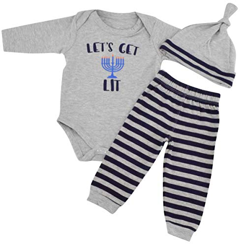 Unique Baby Boys Lets Get Lit Hanukkah Layette Set with Cap (18 Months) Grey