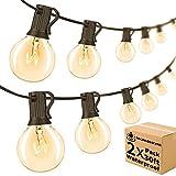 60ft 2-Pack Outdoor String Lights G40 Patio Lights Dimmable Waterproof Light Strings with 64 Bulbs, 2700K Decor Lights Gazebo Bistro Backyard Pergola, Weatherproof IP44, Globe String Lights UL Listed