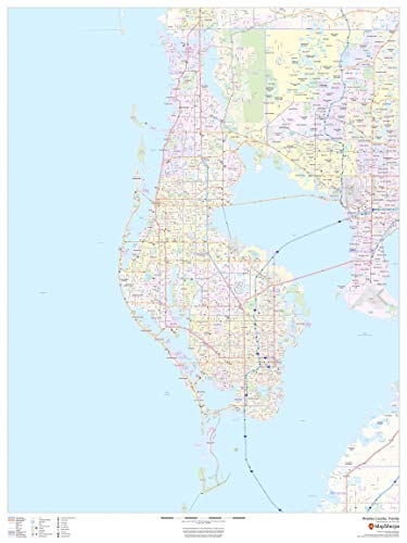 "Pinellas County, Florida - 36"" x 48"" Paper Wall Map"