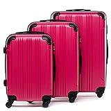 FERGÉ set di 3 valigie viaggio QUÉBEC - bagaglio rigido dure leggera 3 pezzi valigetta 4 ruote rosa