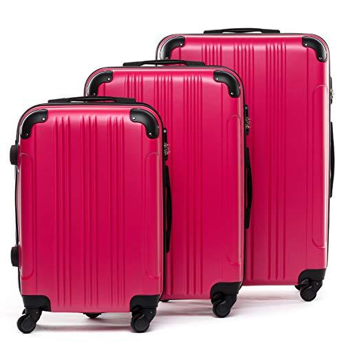FERGÉ 3-delige koffer-set Reisbagage QUÉBEC premium harde spinner premium bagage-koffer roze