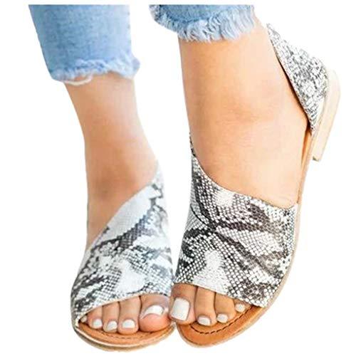 Übergroßer Sandalen für Damen/Dorical Frauen Sommer Retro-Peep-Toe-Sandalen mit seitlicher Abdeckung Damenschuhe Mode einfache PU-Leder Schuhe rutschfest 35-43 EU Ausverkauf(Dunkelgrau,36 EU)
