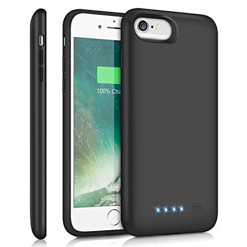 Cover Batteria per iPhone 6 6S 7 8 SE 2020, Trswyop 6000mAh Alta CapacitàRicaricabile Custodia Batteria Cover Caricabatterie Batteria Esterna per iPhone 7 8 6 6s [4.7  ]-Black