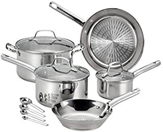 T-fal 2100096045 Pro E760SC Performa Stainless Steel Dishwasher Oven Safe Cookware Set, 12-Piece, Silver, 0 (Renewed)