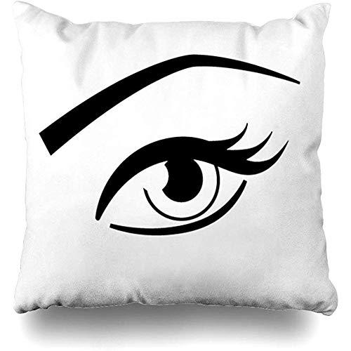 Doble Cojines Fundas 18' Brow Black Eye Maquillaje de Cejas Pestañas Abiertas Blanco Masa Funda de Almohada Suave para la Piel