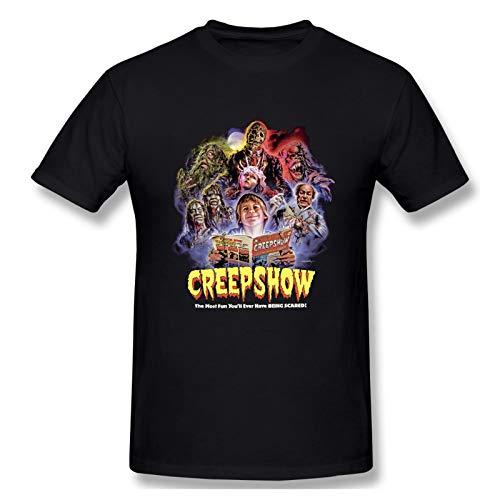 Creepshow Men's Cotton Crew Neck T Shirts | Athletic Running Workout Short Sleeve Tee Tops Black XL