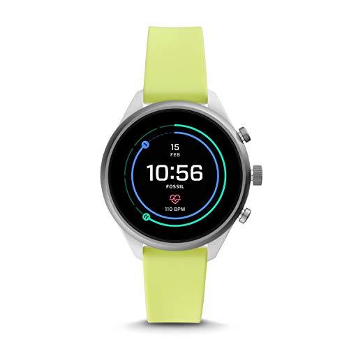 Fossil Sport - Smartwatch pour Femmes, Bracelet en Silicone Jaune Fluo - FTW6028