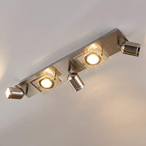 Lindby LED Deckenlampe 'Fjolla' dimmbar (Modern) in Alu aus Metall u.a. für Flur & Treppenhaus (5 flammig, GU10, A+, inkl. Leuchtmittel) - Deckenleuchte, Wandleuchte, Strahler, Spot, Lampe
