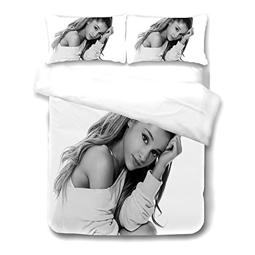 ADosdnn Ariana Grande - Juego de cama con funda de almohada, 100% microfibra, gruesa y suave, impresión digital 3D, funda nórdica general para niños y adultos (220 × 240,14)