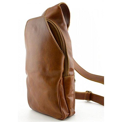 Dream Leather Bags Made in Italy Cuir VÃritable Sac à Dos Monobretelle Avec Poche Frontale Couleur Miel - Maroquinerie Fait En Italie - Sac à Dos