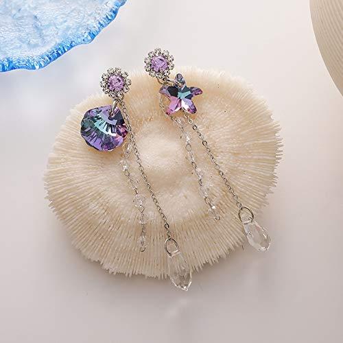 Pendientes de moda con conchas brillantes moradas de cristal de lágrima, pendientes de asimetría cuadrados, pendientes de joyería de fiesta para mujer (color de metal: 1, tamaño: normal)