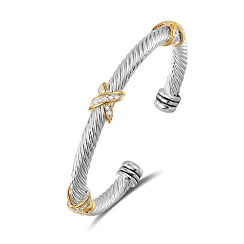 UNY Bracelet Designer Brand Inspired Antique Women Jewelry Cross Cable Wire Bangle Christmas Day Gifts (Triple Stone)