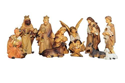 BTV Figuren für große Weihnachtskrippen aus Holz hochwertige Krippenfiguren 12-teilig KFX-HO Holzfiguren-OPTIK handbemalt und GEBEIZT - präsise saubere Gesichtszüge Mienen natürliche Mimik
