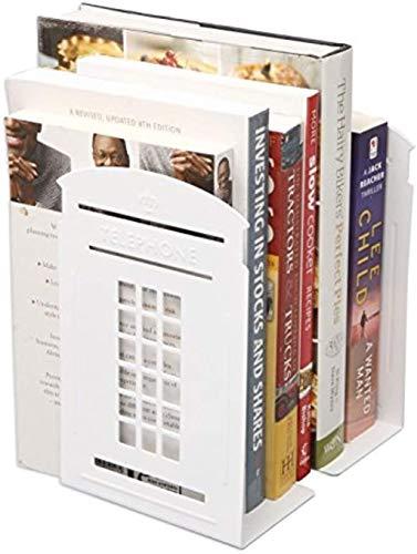 XLL Vintage British London Telefonzelle Kiosk Eisen Metall Buchstützen Buchstütze Organizer für Bibliothek, Schule, Büro, Schreibtisch, Dekoration, cooler Buchstopper Geschenk schwarz weiß