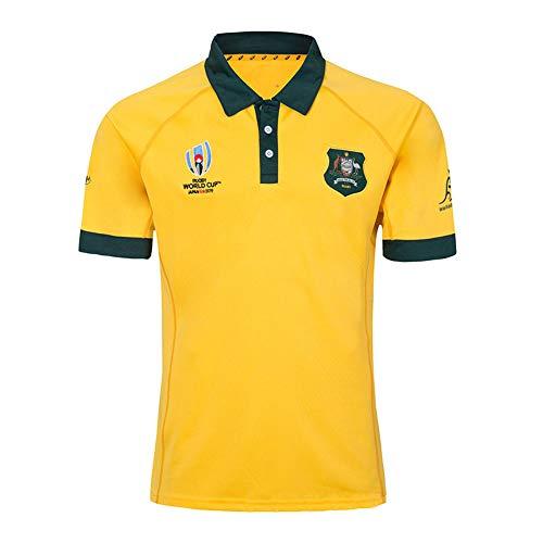 Rugby-Trikot Männer Sport-T-Shirt Australian Rugby Fan Short Sleeve Jersey Spieler Trainingsanzug Yellow T-Shirt- L