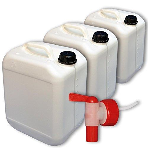 Wilai GmbH Lote de 3 bidones de Polietileno/Jerrycan 10 L Blanco DIN45 + 1 Grifo aeroflow Calidad alimentaria (3x22116+22039)