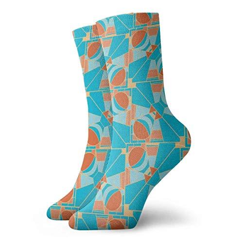 KenFandy Blue and Orange Geometric Adult Short Socks Cotton Sports Socks for Mens Womens Yoga Hiking Cycling Running Soccer Sports
