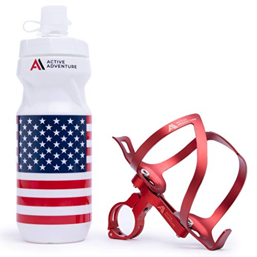 Active Adventure 3-in-1 Bike Water Bottle Holder with Bottle and Versatile Bike Mount. RED Bicycle Water Bottle Cage, Bike Bottle Cage Adapter and Cycling Bottle. Mountain or Road Bike Accessories