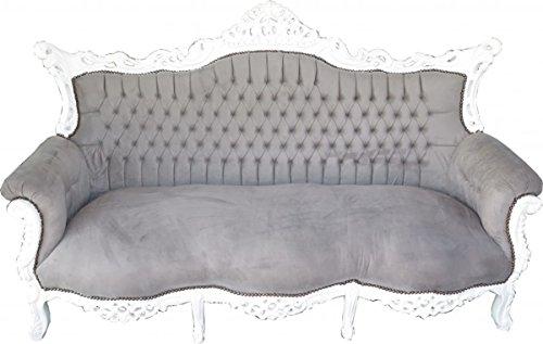 Barock 3er Sofa Master Grau/Weiß - Wohnzimmer Möbel Couch Lounge