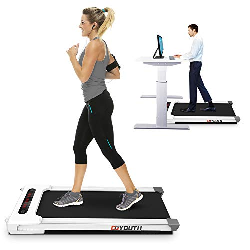 Goyouth 2 in 1 Under Desk Electric Treadmill Motorized Exercise Machine with Wireless Speaker, Remote Control and LED Display, Walking Jogging Machine for Home/Office Use