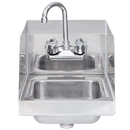 """Stainless Steel Hand Sink with Side Splash - NSF - Commercial Equipment 10"""" X 14"""""""