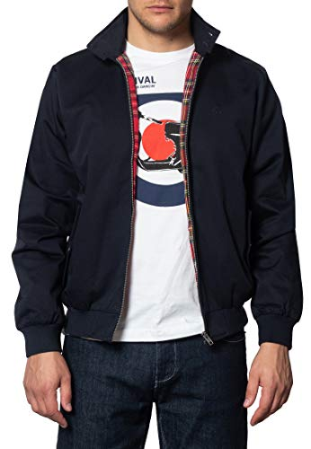 Merc of London Harrington Chaqueta, Azul (Navy), Large para Hombre